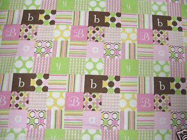 Baby receiving or Toddler Flannel Blanket Letters spell baby Pink brown 36X41