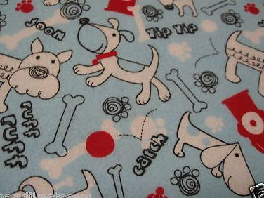 Dogs Puppies Receiving blue Flannel baby blanket or toddler daycare blankie