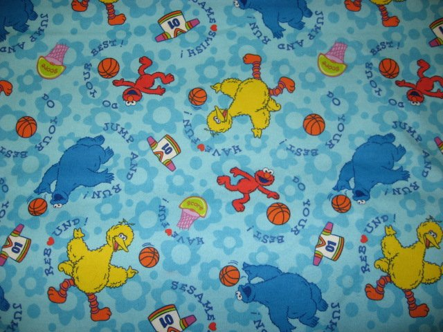 Image 0 of Elmo Cookie Monster Big Bird basketball Blue Flannel Baby Blanket or toddler