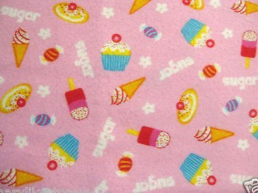 Image 0 of Cupcake Cookie Cone Sugar Baby or toddler daycare flannel blanket handmade new