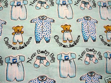 Dressed teddy bears and socks Flannel receiving blanket  for Baby boy