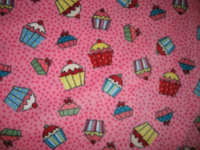 Cupcakes fleece baby blanket or toddler drag along daycare snuggle blankie