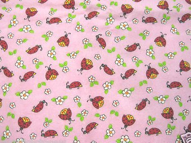 Ladybug on a pink flannel baby Blanket or toddler drag along blankie