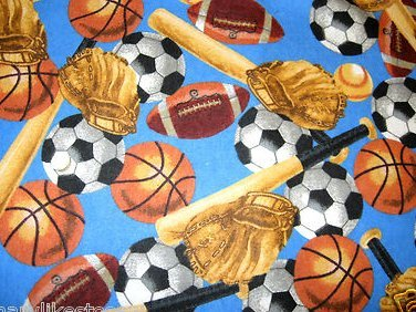 Image 0 of Baseball sport bat and glove soccer ball baby or toddler blue flannel blanket