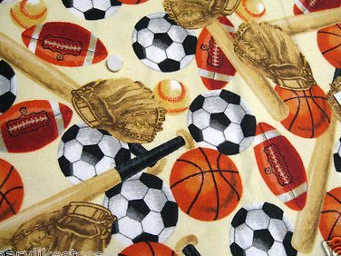 Baseball bat glove soccer footballs and basketballs cream Flannel baby blanket