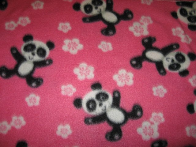 Image 0 of Panda bears handmade Pink fleece baby blanket or toddler drag along comfort