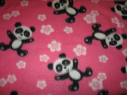 Panda bears handmade Pink fleece baby blanket or toddler drag along comfort