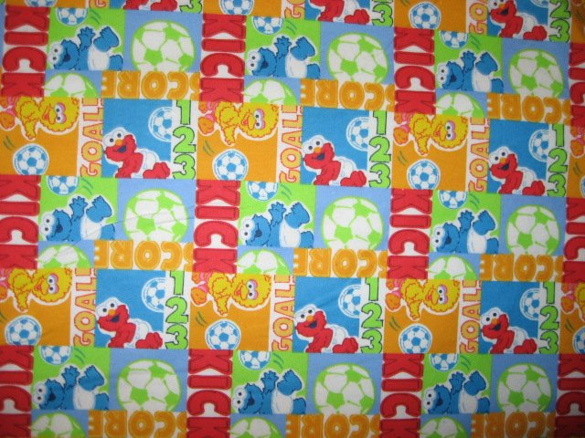 Image 0 of Big bird Cookie Monster and Elmo soccer  Sesame Street Flannel Baby Blanket