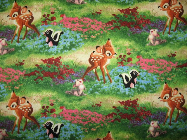 Bambi Thumper Flower Disney Thomas Kinkade 1/4 yard fabric 18X22Rare