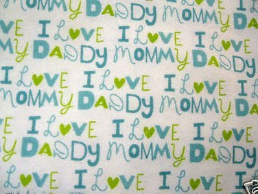 Image 0 of I love heart Mommy and Daddy Baby Boy Toddler Flannel Blanket