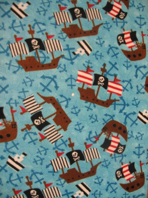 Image 0 of Pirate ship anchor skull cross bone flag fleece blanket