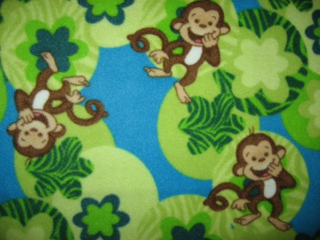 Image 2 of Whimsical Monkey and flowers toddler drag along Blue fleece blanket