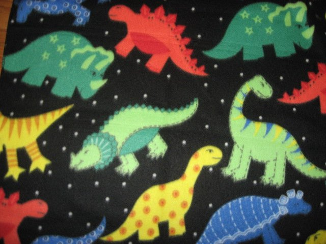 Dinosaur handmade black fleece Baby or Toddler blanket 3 feet