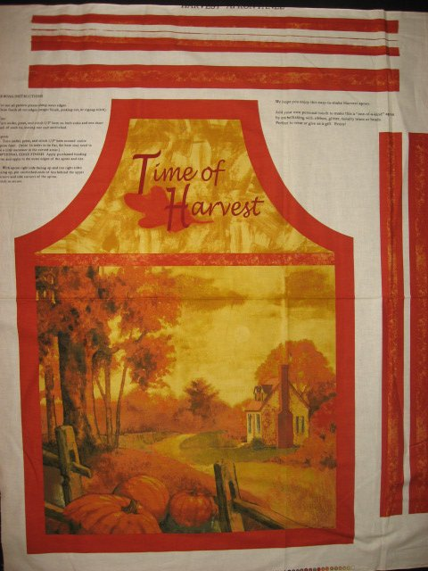 Image 0 of Pumpkin Harvest vintage house Thanksgiving dinner aprons one Apron Fabric to sew