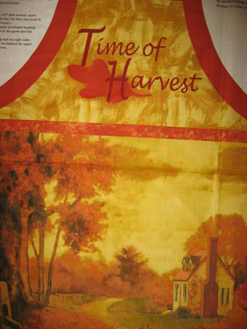Image 1 of Pumpkin Harvest vintage house Thanksgiving dinner aprons one Apron Fabric to sew