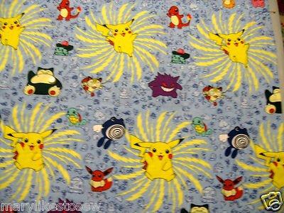Image 0 of Pokemon Pikachu Snorlax Nintendo 1/4 Yard  Fat quarter FQ Fabric Rare  OOP HTF
