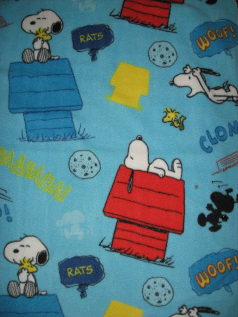 Image 0 of Peanuts Snoopy Woodstock dog house baby blanket Handmade with licensed fleece