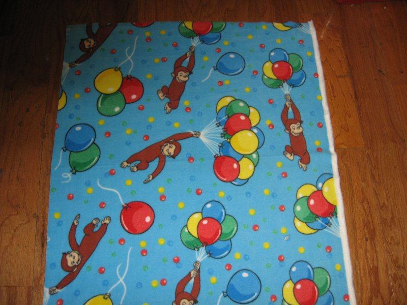 Curious George balloons Licensed handmade fleece baby blanket 29X28