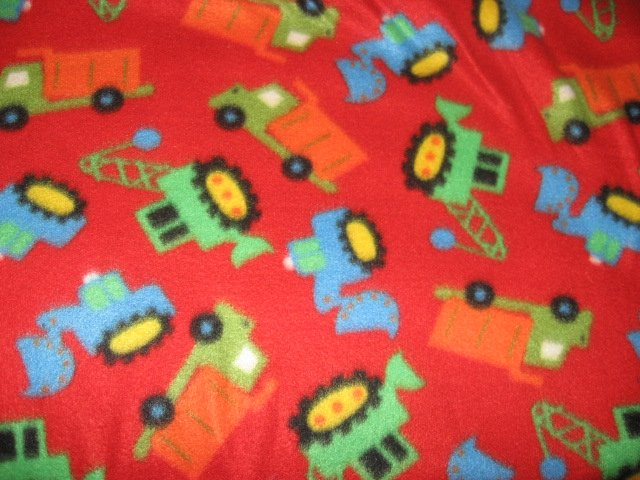 Earth mover truck red fleece baby blanket or Toddler day care comfort 29X45