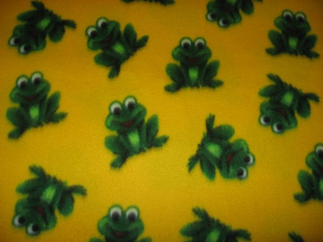 Frog fleece blanket yellow for pet crate  or toddler drag along day care blankie