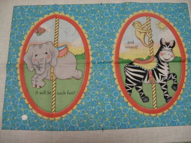 Image 1 of Bazooples merry go round animal giraffe zebra lion baby soft book fabric to sew/