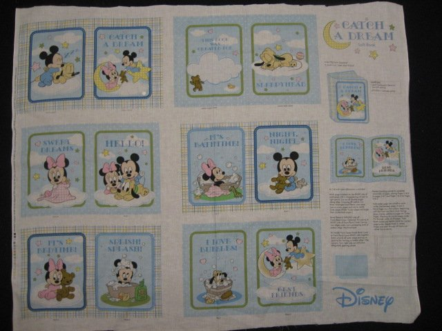 Disney Mickey Mouse Catch a dream baby soft book panel or Quilt to sew