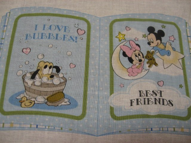 Image 2 of Disney Mickey Mouse Catch a dream baby soft book panel or Quilt to sew