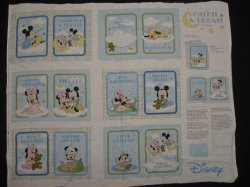 Thumbnail of Disney Mickey Mouse Catch a dream baby soft book panel or Quilt to sew