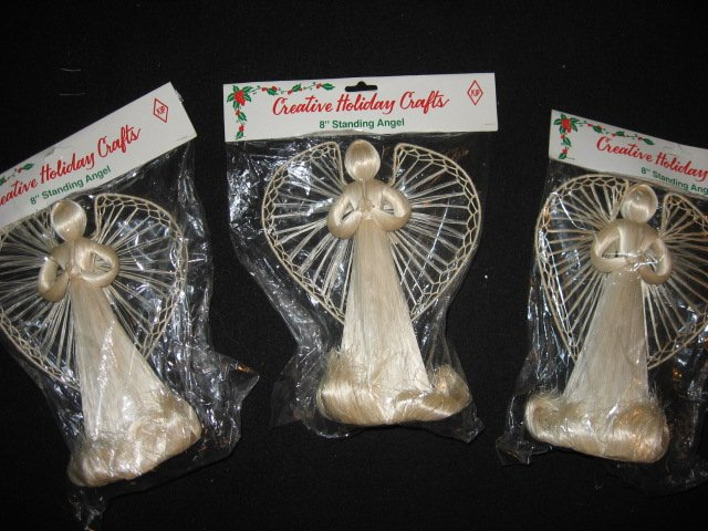 Image 0 of Three abaca Christmas angels standing decorations or tree toppers