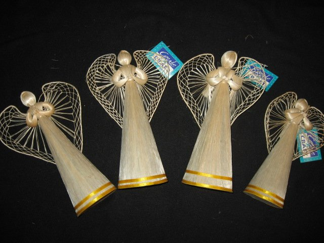 Four Christmas angels standing decorations to craft or to use as is