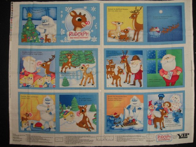 Rudolph The Red Nose Reindeer baby Soft book blue fabric Panel to Sew