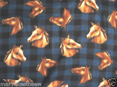 Horse heads Blue and black plaid fleece blanket throw