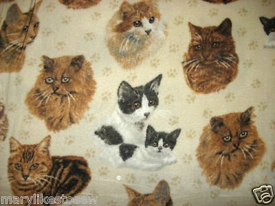 Cat Kitty Antipill fleece baby blanket with paw prints
