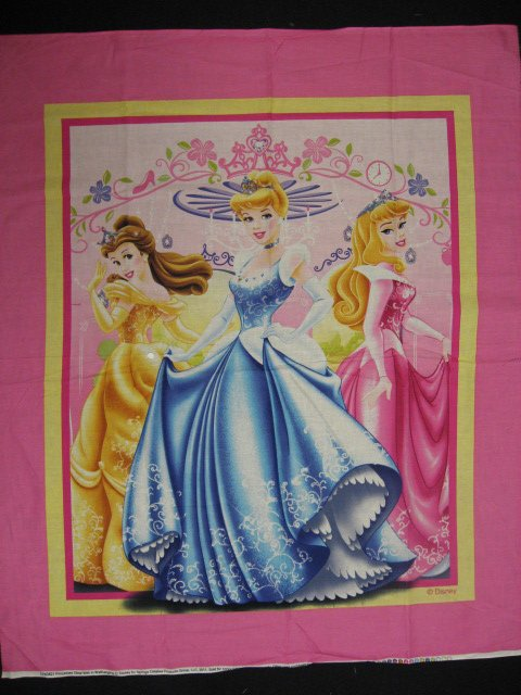 Image 0 of Princess Cinderella, Aurora, and Belle Fabric wall or child crib panel to sew