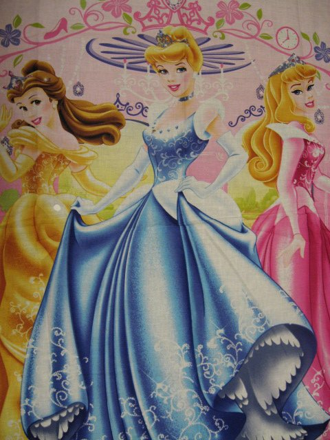 Image 1 of Princess Cinderella, Aurora, and Belle Fabric wall or child crib panel to sew