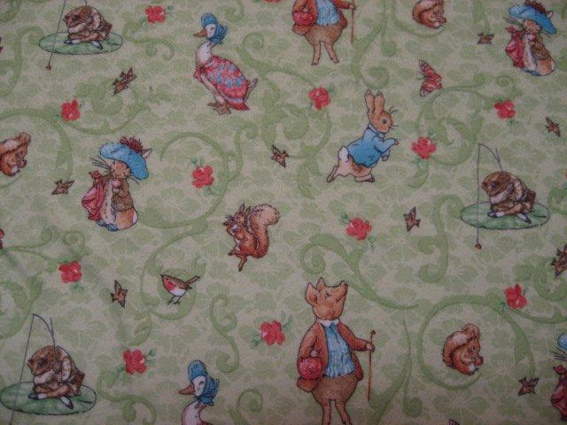 Beatrix Potter Peter Rabbit Baby Flannel receiving Blanket in Green