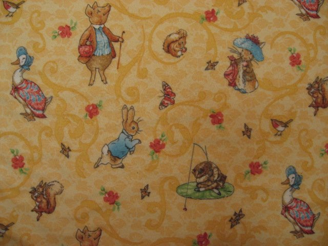 Beatrix Potter characters Peter Rabbit Baby Flannel receiving Blanket in Yellow