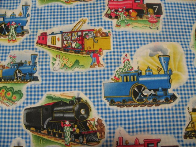 Little Engine that Could Train New checks form Print cotton Fabric by the yard