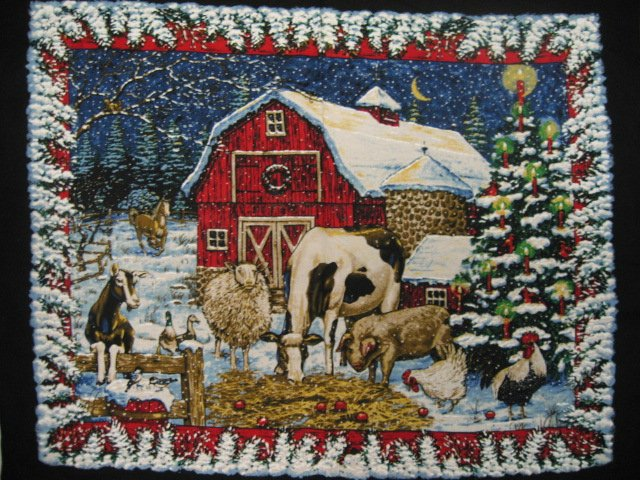 Farm Fabric wall Panel  Barn animals Cow Horse Pig Sheep Rooster Winter snow /