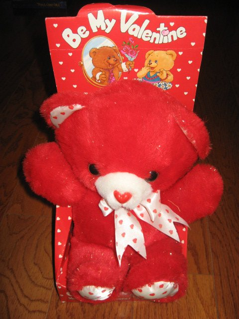 Valentines Day sparkly 11 Red Teddy Bear hearts new in box collectible 1988