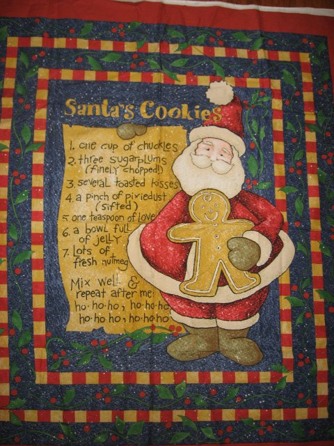 Image 1 of Daisy Kingdom Christmas Santas cookies receipe fabric wall panel to sew