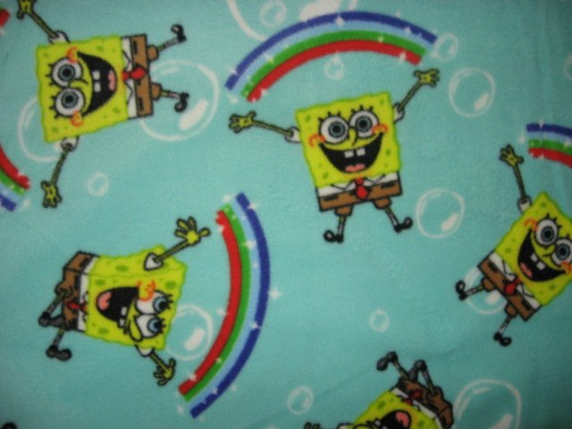 Image 0 of SpongeBob rainbows and bubbles aqua antipill fleece blanket 48