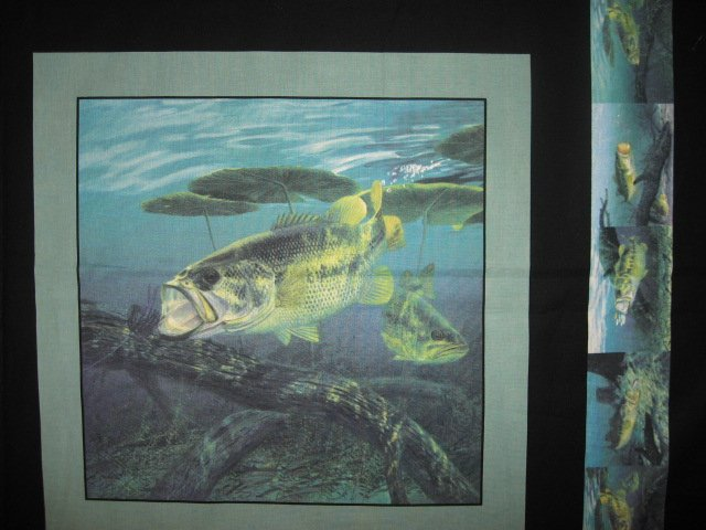 Image 1 of Large mouth Bass Fabric Pillow Panel Set of four black border