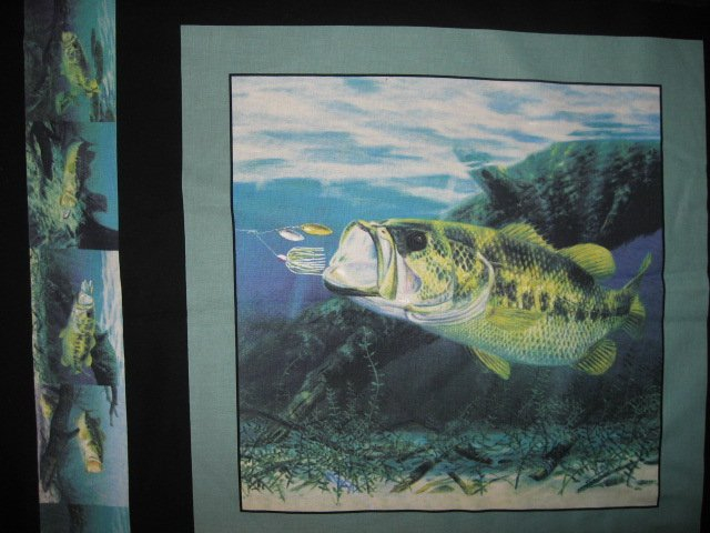 Image 2 of Large mouth Bass Fabric Pillow Panel Set of four black border