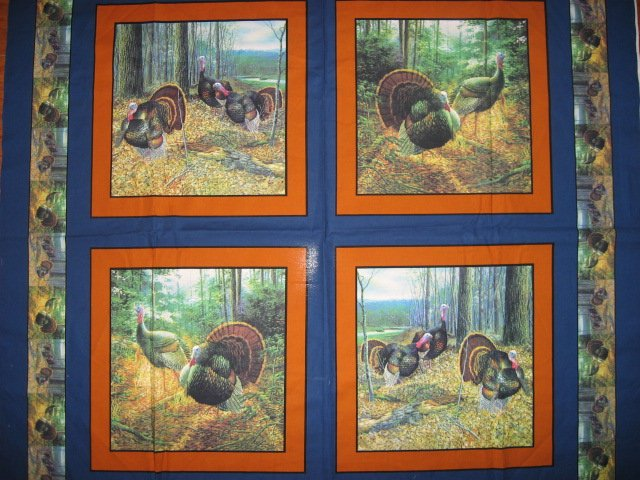 Turkey Thanksgiving Quilt Fabric Pillow Panel with orange border Set of four