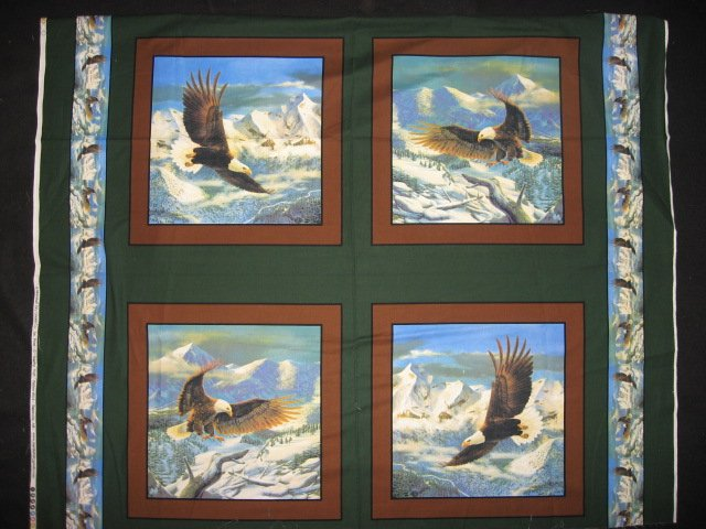 Eagle flying over mountains set of Four different fabric pillow panels to sew
