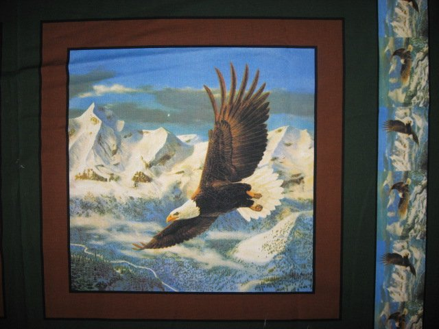 Image 1 of Eagle flying over mountains set of Four different fabric pillow panels to sew