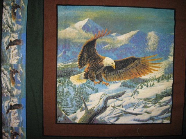 Image 2 of Eagle flying over mountains set of Four different fabric pillow panels to sew