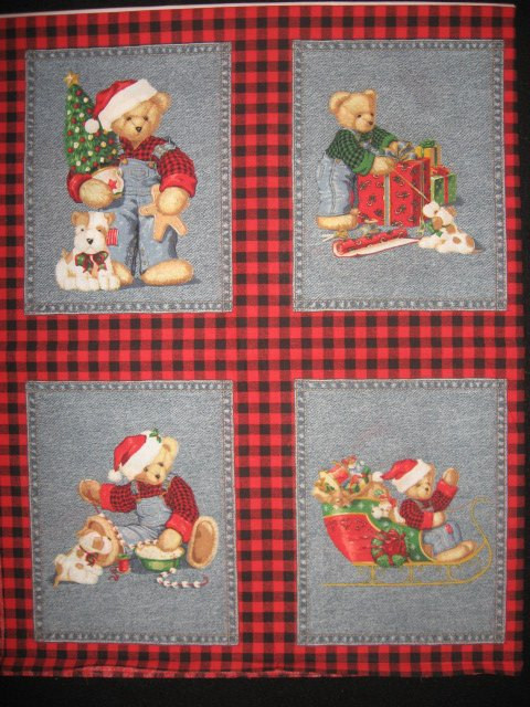 Blue Jean Teddy Bear Christmas 4 cotton Fabric Pillow panels RARE to sew SET #2