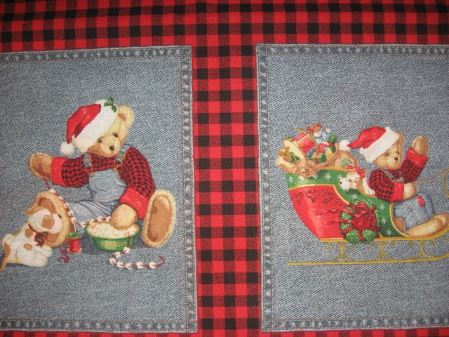 Image 1 of Blue Jean Teddy Bear Christmas 4 cotton Fabric Pillow panels RARE to sew SET #2